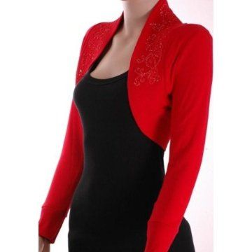 Red Knit Beaded Shrug